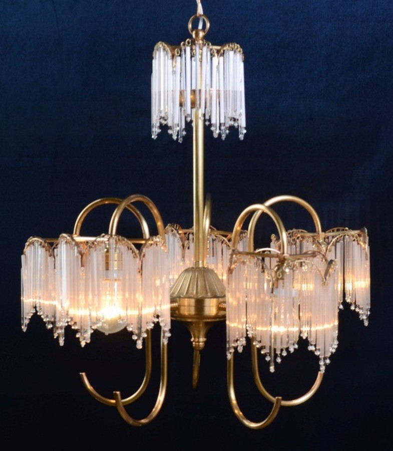 Antique 1970 Gold Plated Brass Chandelier with Icicles -  Spain