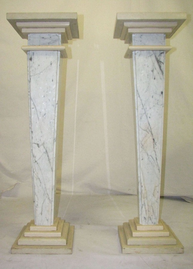 PAIR OF MARBLE COLUMNS  - SLIM -carrara and ecru
