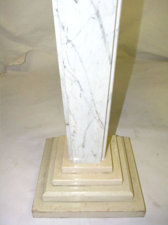 Antique PAIR OF MARBLE COLUMNS  - SLIM -carrara and ecru