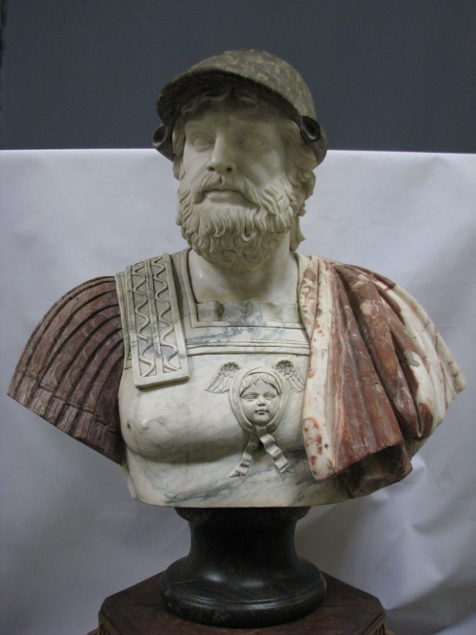 "Sculpture ""Bust Of Ancient Warrior "", Natural Dimensions, 5 Types of Marble"