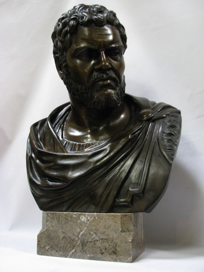 Bust of the Roman Emperor Caracalla, Signed