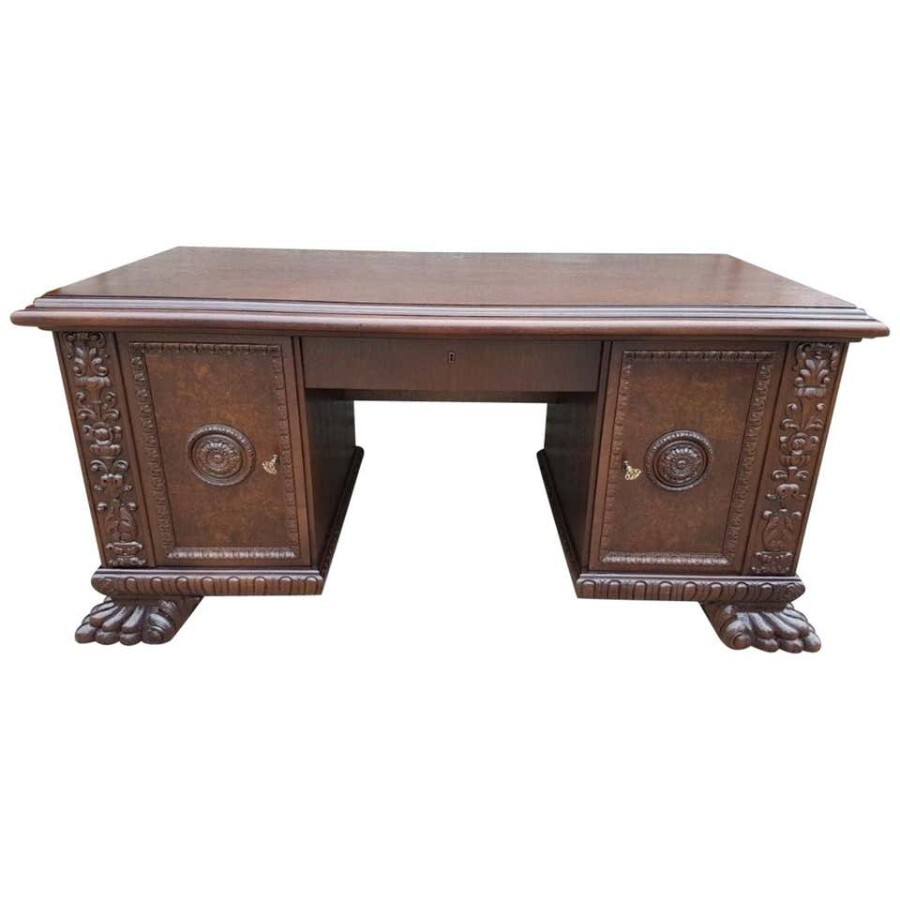 Antique Renaissance Revival Style Oak Desk with Walnut Burl, Early 20th Century