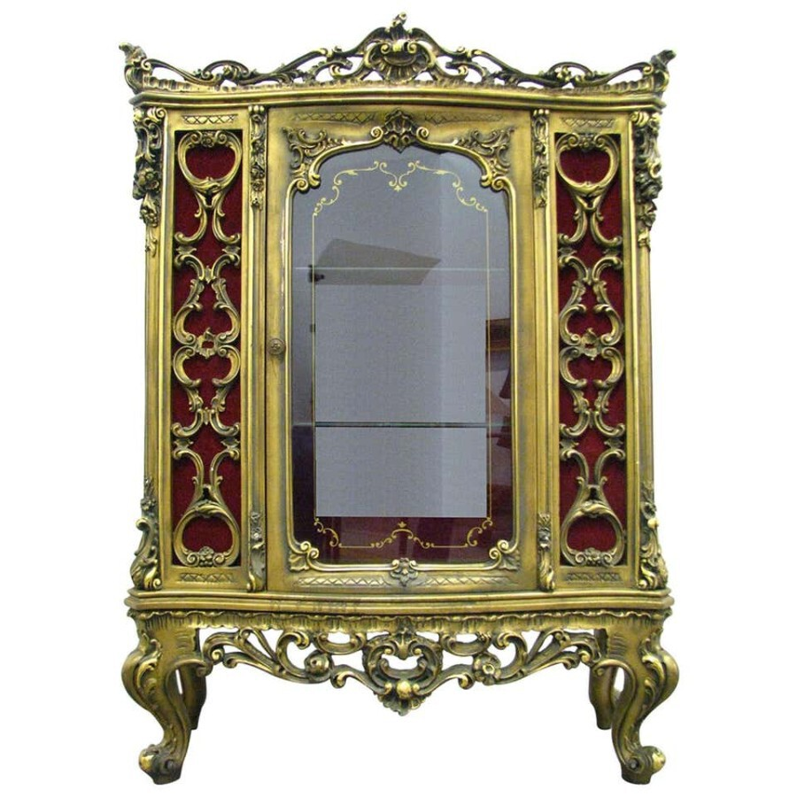 Rococo Revival Style Low Auxiliary Vitrine Giltwood, 20th Century