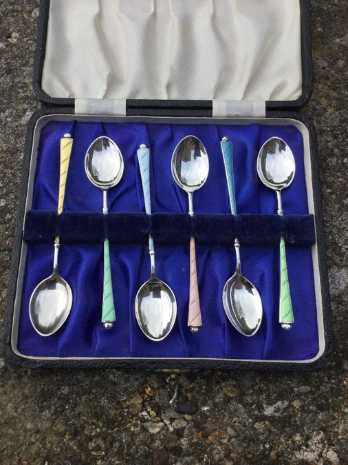 Silver and Enamel Coffee Spoons Boxed