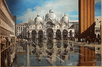 Antique Venice, Saint Mark's Square with high water