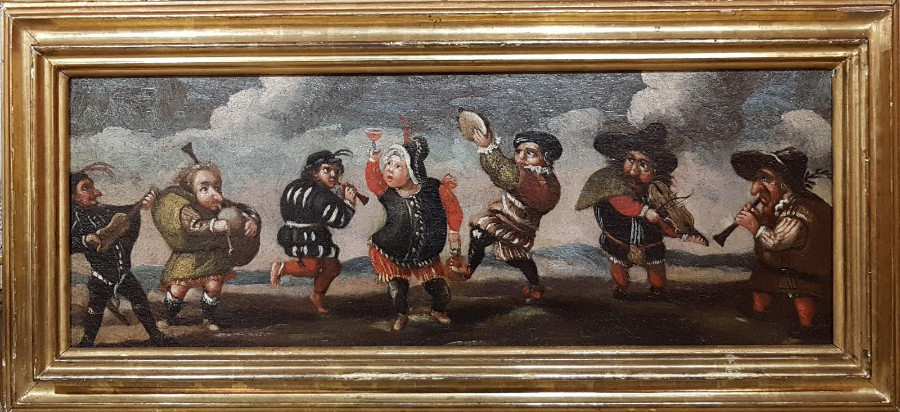 Pair of paintings, Dwarfs celebrating and Dwarves in combat
