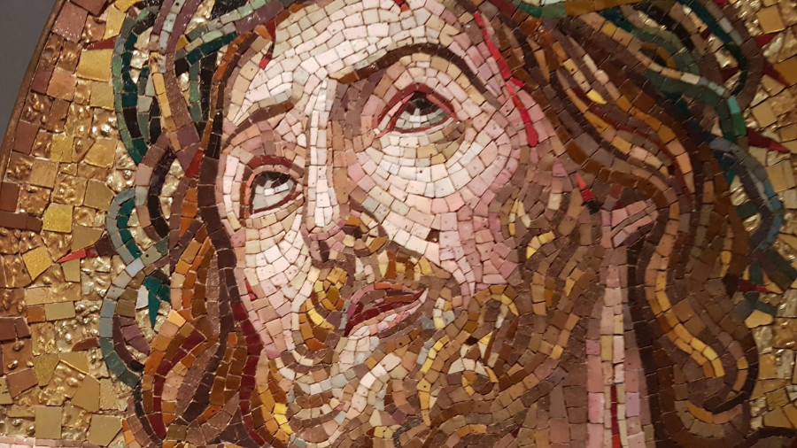 Antique Small mosaic representing Ecce Homo by Guido Reni