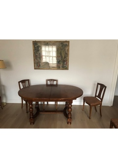 Expandable Oak Dining Table (French Style)