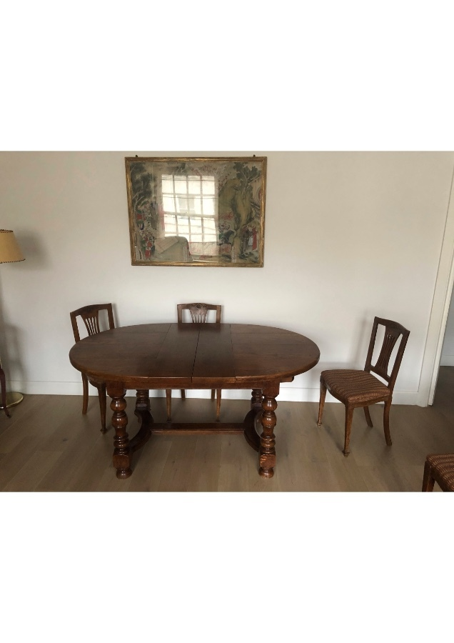 Antique Expandable Oak Dining Table (French Style)