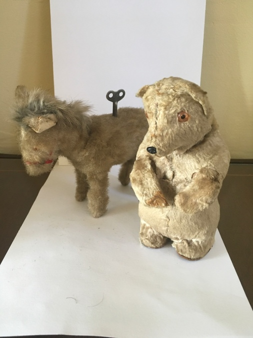 Vintage clockwork Donkey and Bear