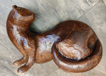Antique Arts and Crafts Style Carved Pine Martin (Made from Elm!).