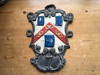 Antique Lead Ironmongers Company House Plaque.