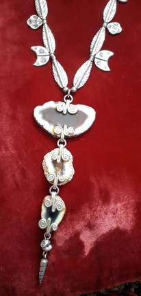 Antique Tibetan White Metal & River Agate Necklace.