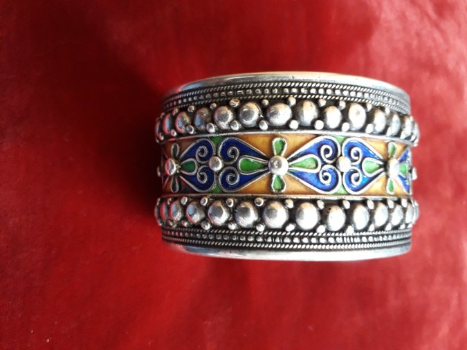 Vintage Russian White Metal and Enamel Bangle