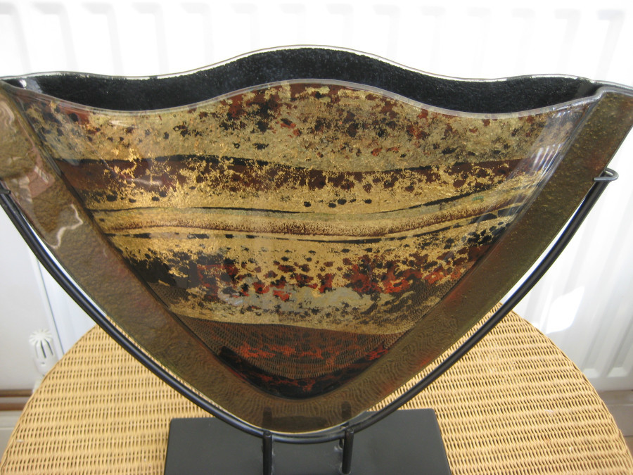 Antique LARGE ART FUSED GLASS ABSTRACT VASE ON STAND