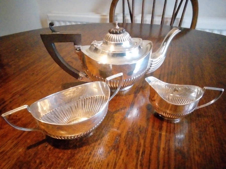 SOLID SILVER BACHELORS TEA SET 1898 (MW)