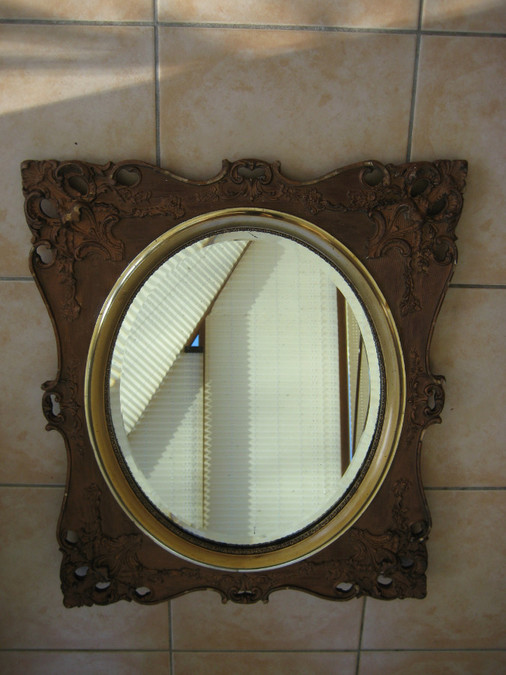 LARGE VINTAGE ORNATE MIRROR ROCCO STYLE? (K)