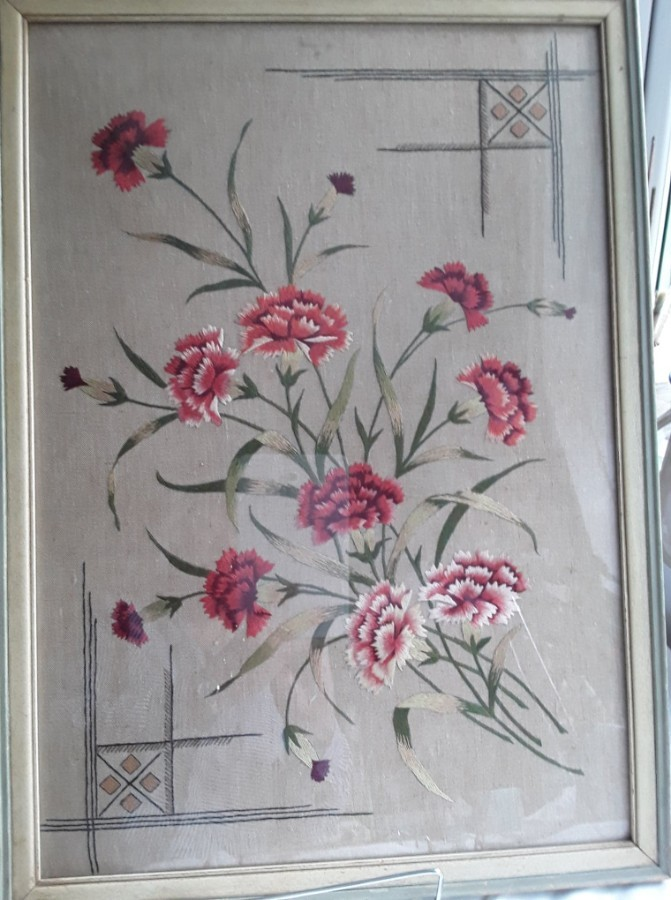 Art Deco Embroidered Silk Carnations
