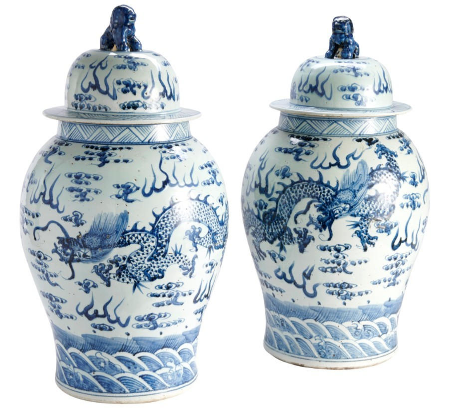 Antique Chinese Lidded Vases