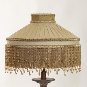 Pleated silk 'Bali' Design in Champagne with Beaded trim suitable for a standard lamp