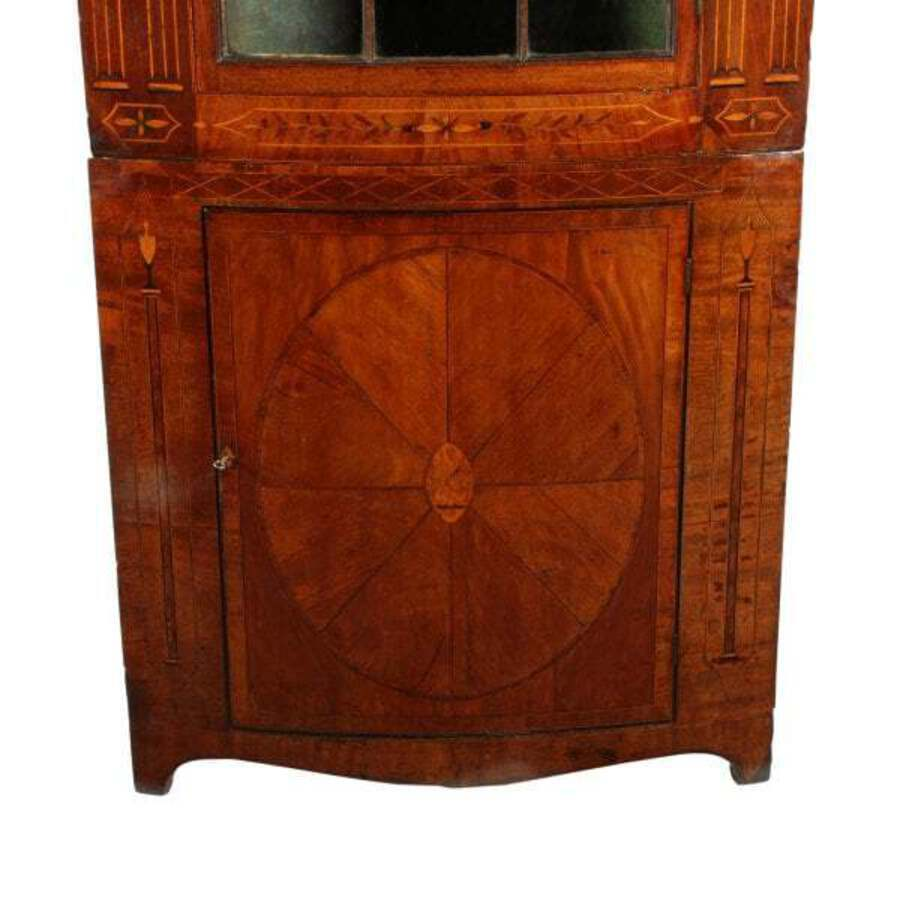 Antique 18th Century Bow Double Corner Cupboard