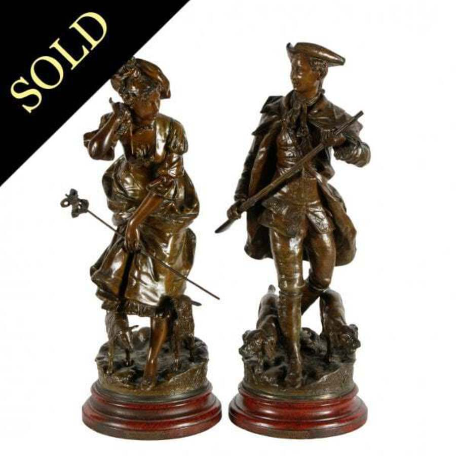 Antique Pair of French Bronzed Metal Figures