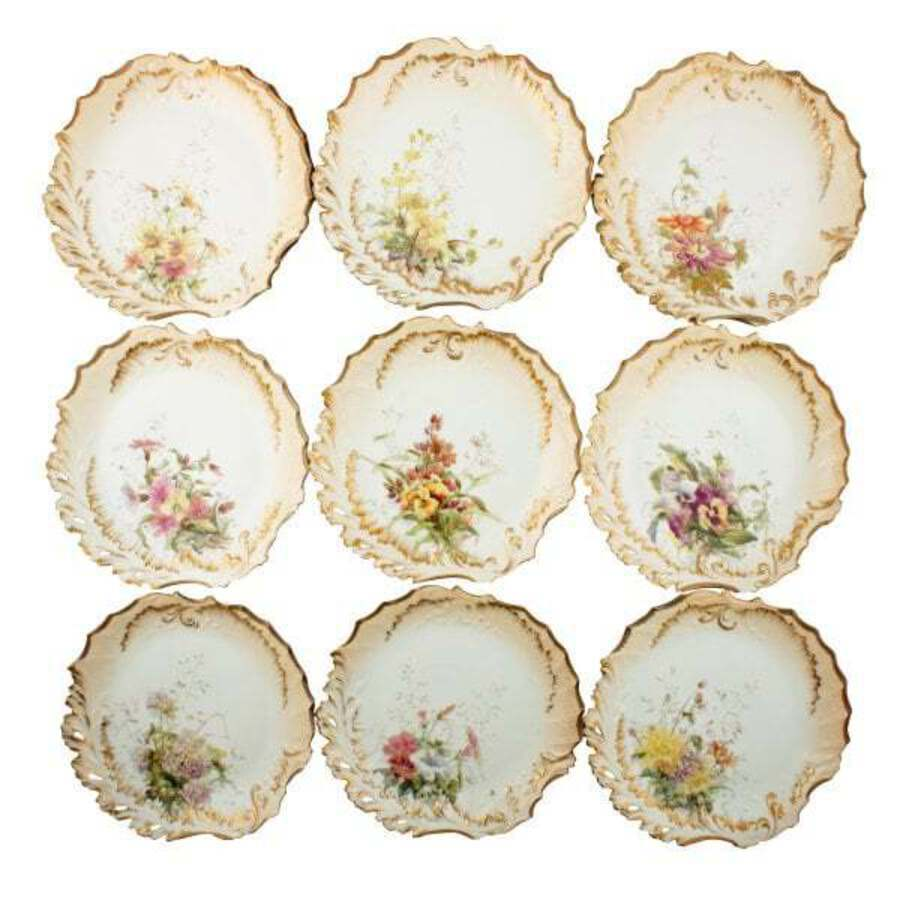 Antique 18 Piece Limoges Martial Redan Dessert Service