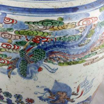Antique 19th Century Chinese Wucai Style Vase