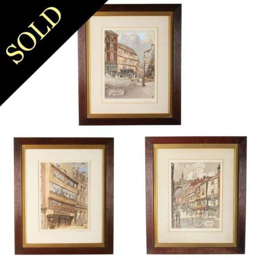 Antique Three Lithographs of Newcastle