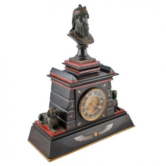 Antique Victorian Marble & Bronze Clock by Japy Freres