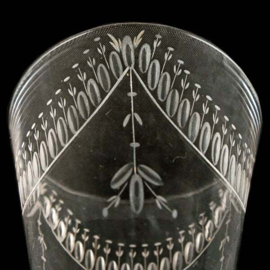 Antique 18th Century Engraved Wine Glass