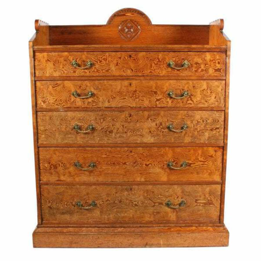 Antique Magnificent Pitch Pine Chest by Robson & Sons Newcastle