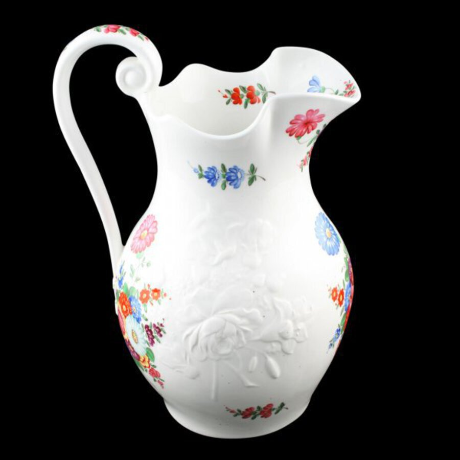 Antique Victorian Hand Painted Porcelain Ewer