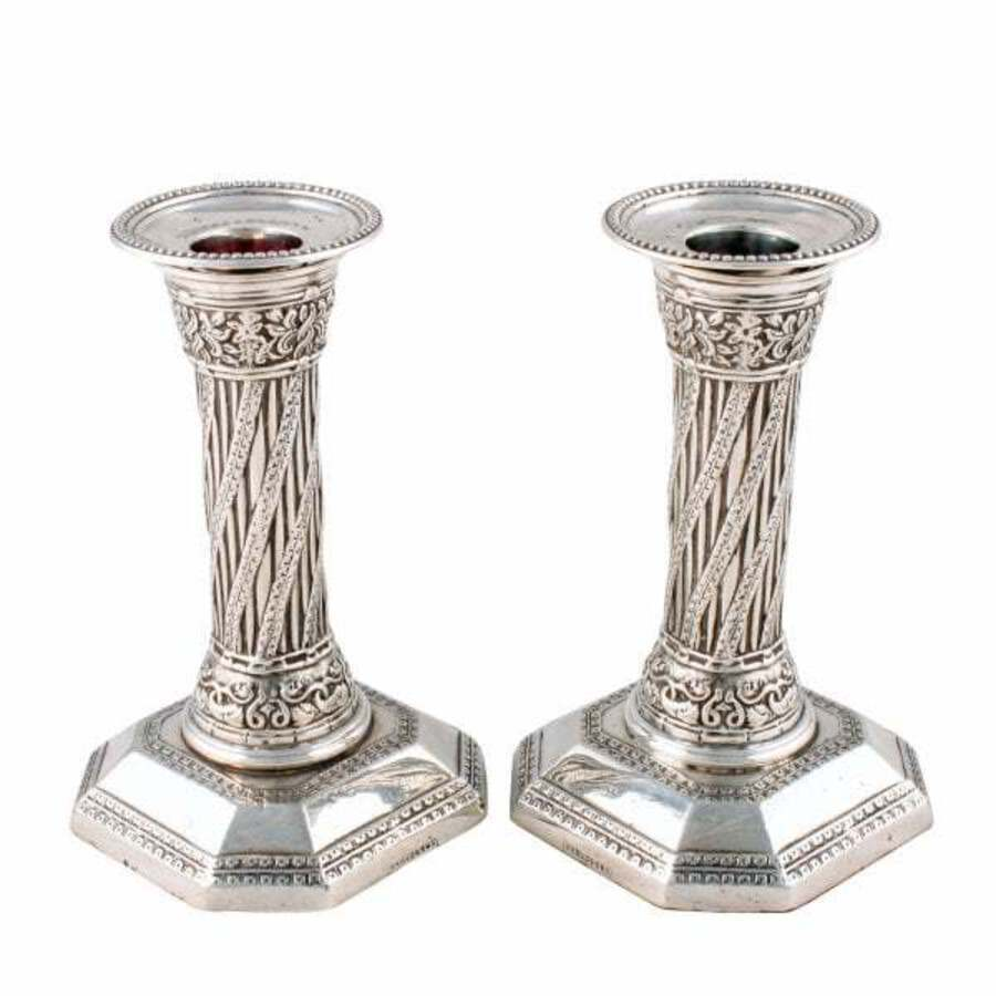 Antique Pair of Victorian Silver Candlesticks