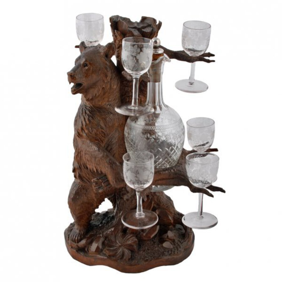 Antique Bavarian Bear Liqueur Stand