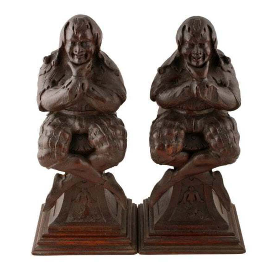 Antique Pair of Carved Wood Jester Figures