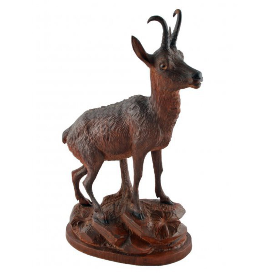 Antique Pair of Carved Wood Antelope