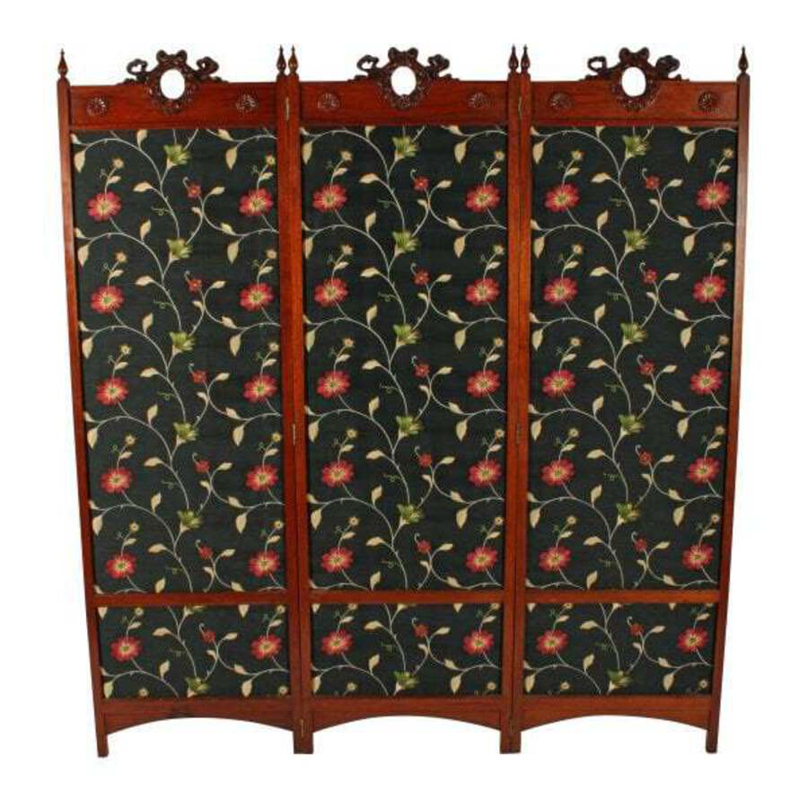 Walnut Three Fold Draught Screen