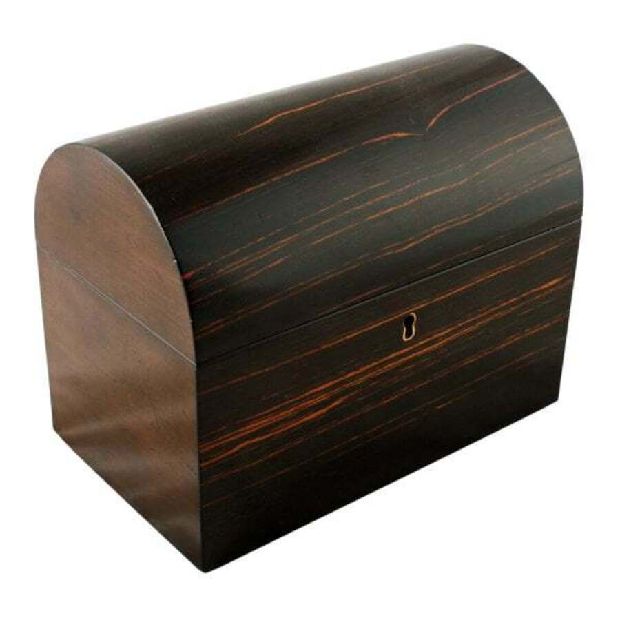 Victorian Brown Ebony Tea Caddy