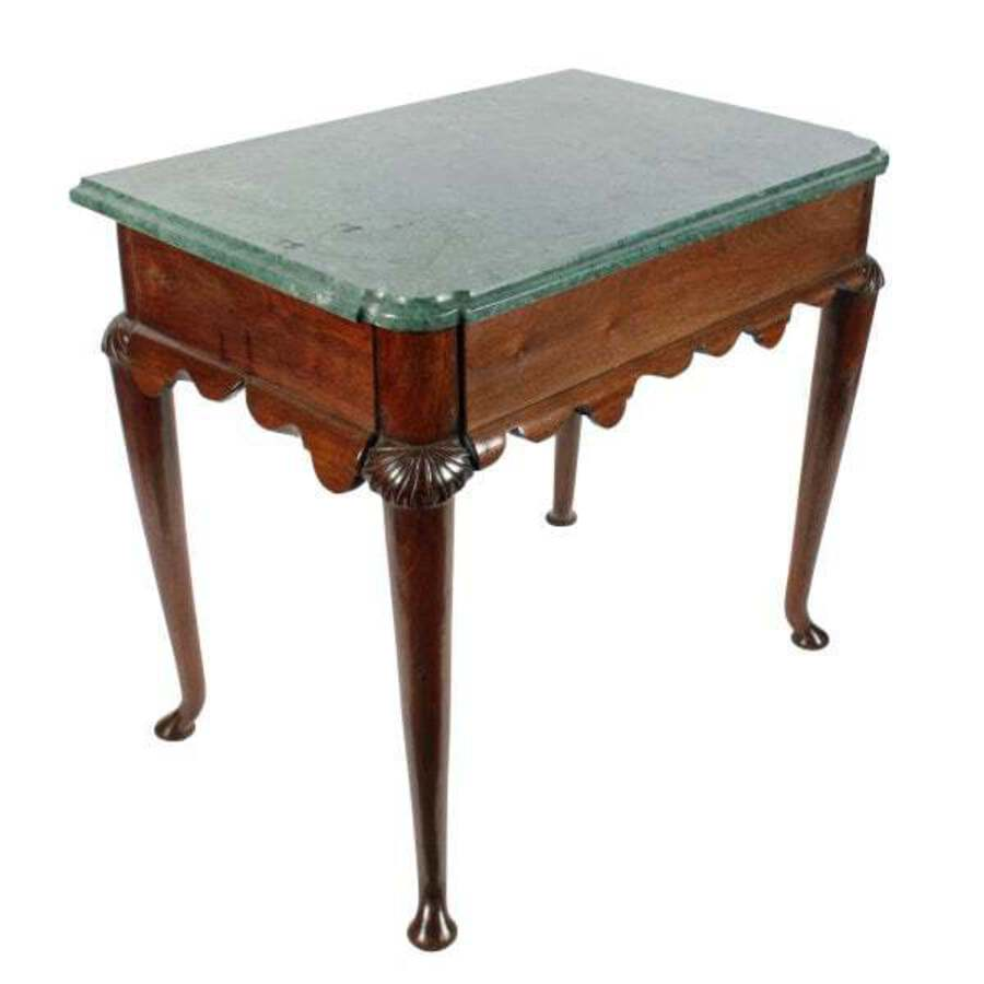 Walnut Marble Top Console Table