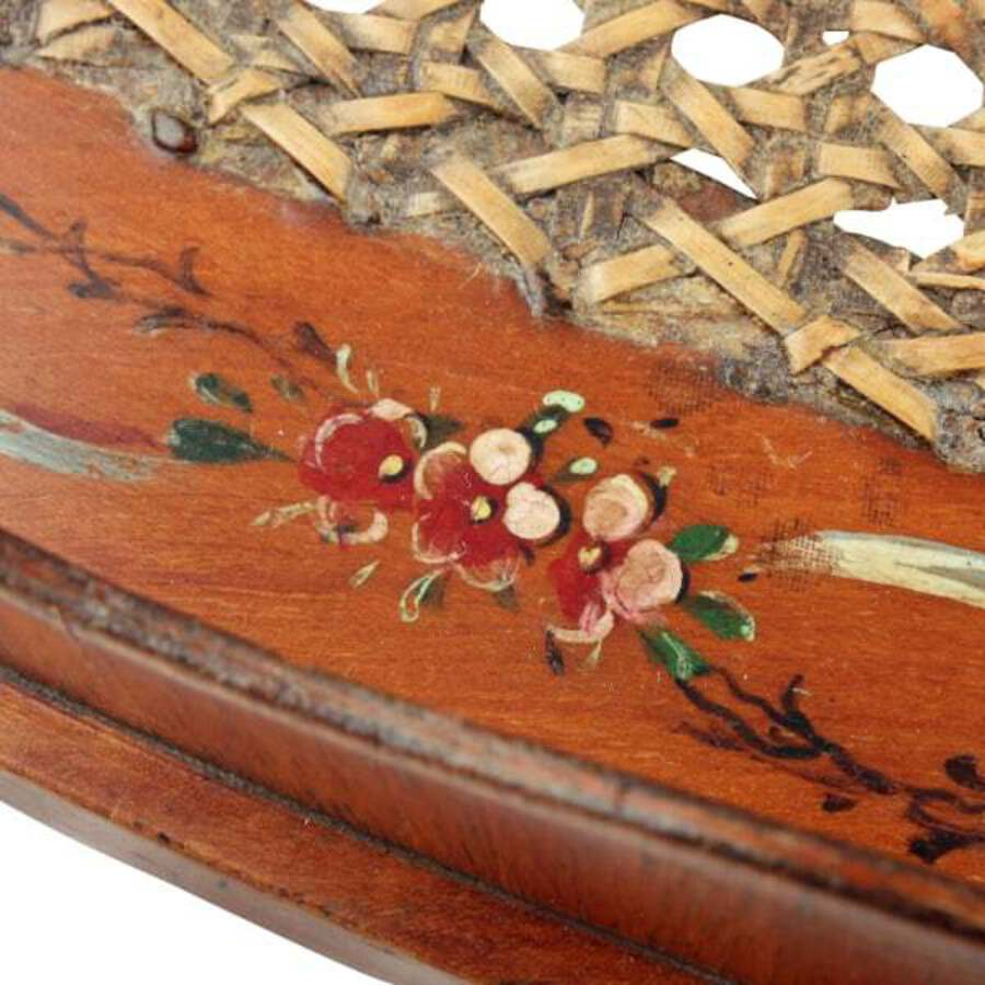 Antique Edwardian Satinwood & Bergere Tray
