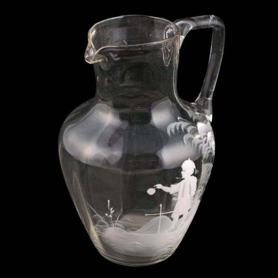 Mary Gregory Clear Glass Jug