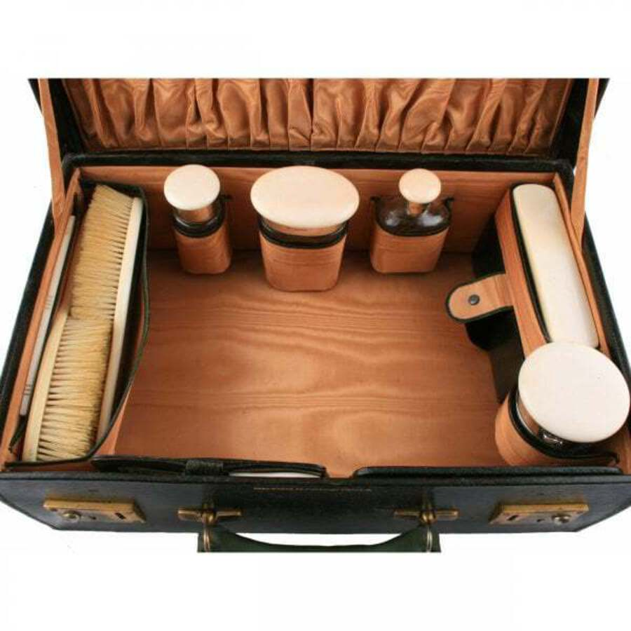 Antique Fitted Leather Dressing Case