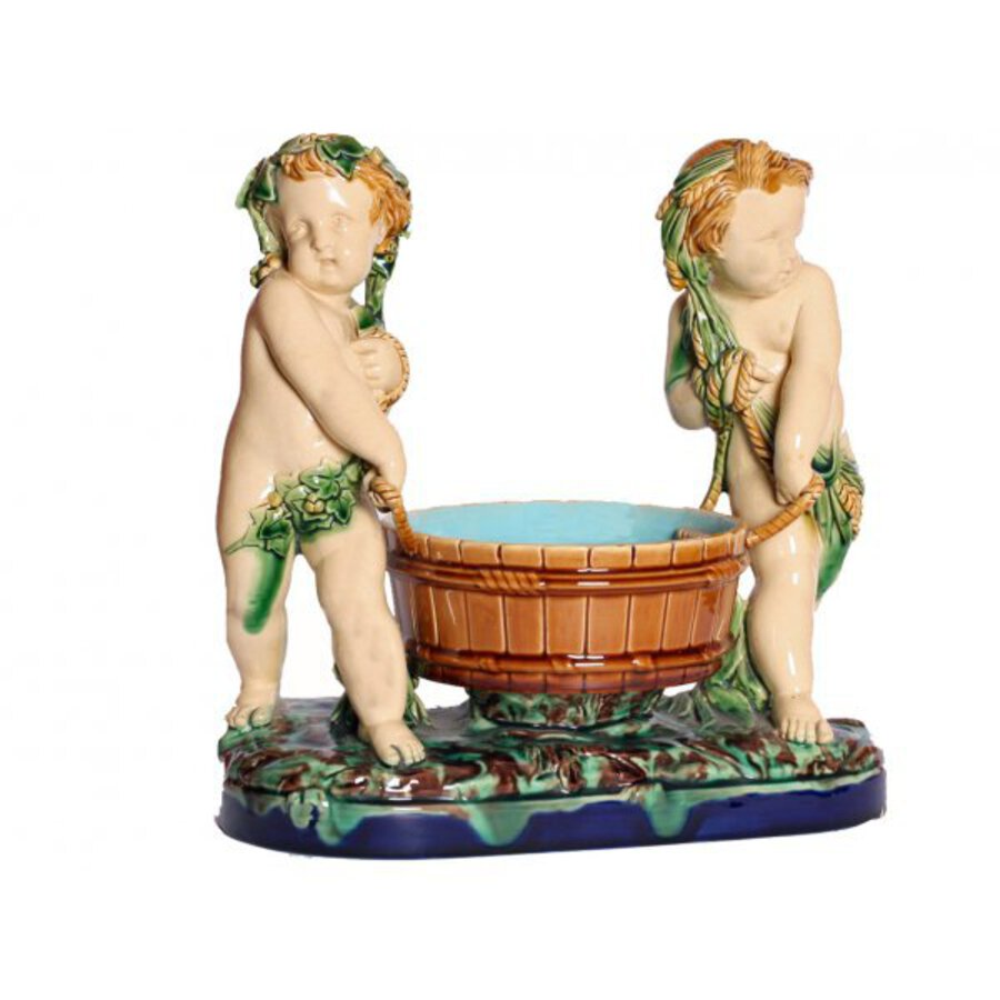 19th Century Majolica Cherub Group