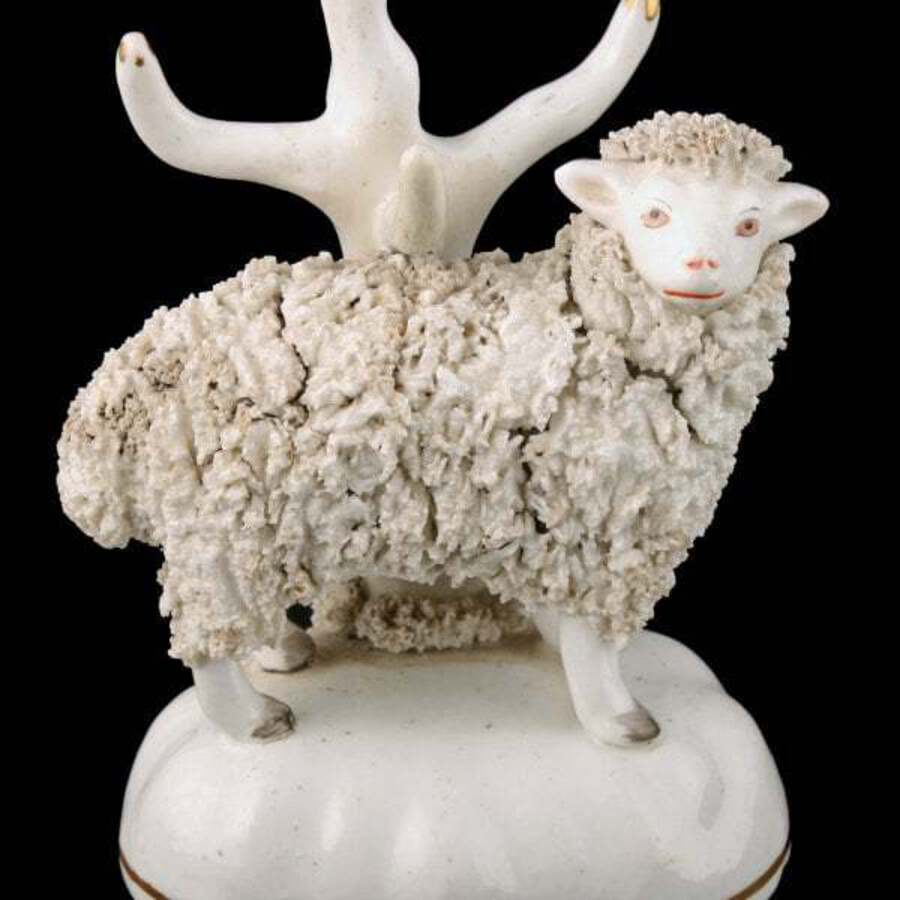 Antique Pair of Victorian Staffordshire Sheep