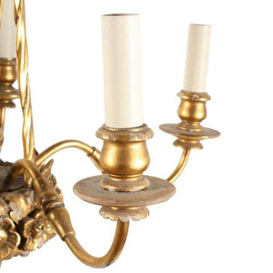 Antique Carved Wood & Gilt Brass Chandelier