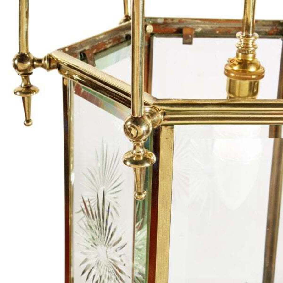 Antique Edwardian Hexagonal Brass Hall Lantern