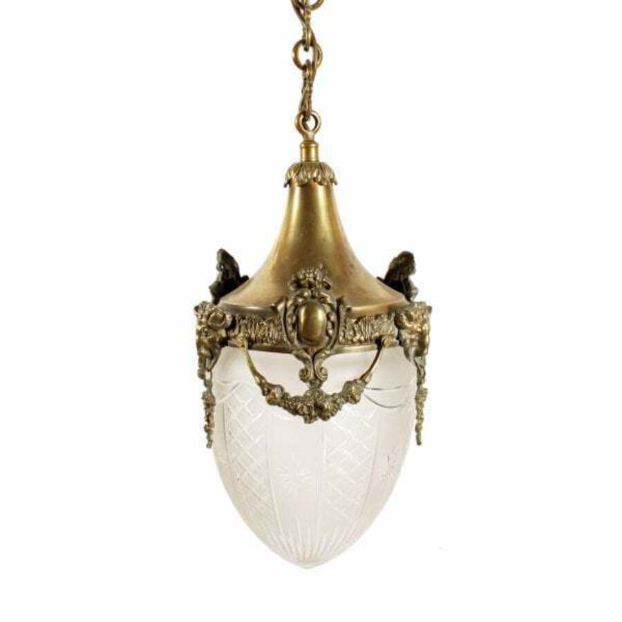 Opaque Glass & Brass Hall Lantern