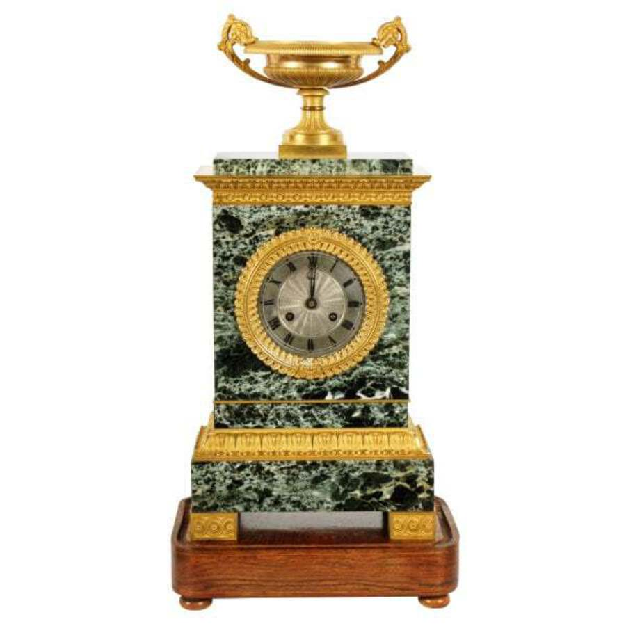 Antique French Empire Marble & Ormolu Clock