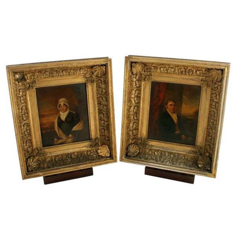 Antique Pair of 19th Century Framed Portraits